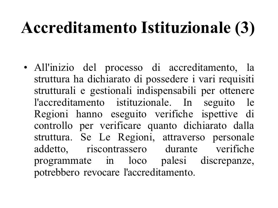 Accreditamento Istituzionale (3) All inizio del processo di accreditamento, la struttura ha dichiarato di possedere i vari requisiti strutturali e gestionali indispensabili per ottenere l accreditamento istituzionale.
