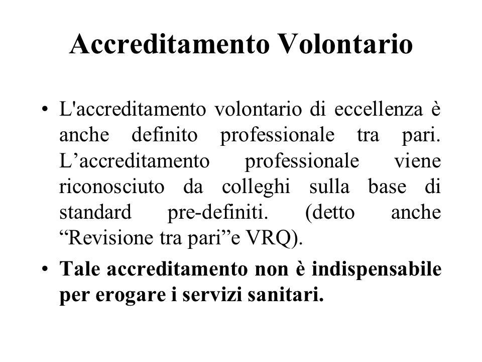 Accreditamento Volontario L accreditamento volontario di eccellenza è anche definito professionale tra pari.