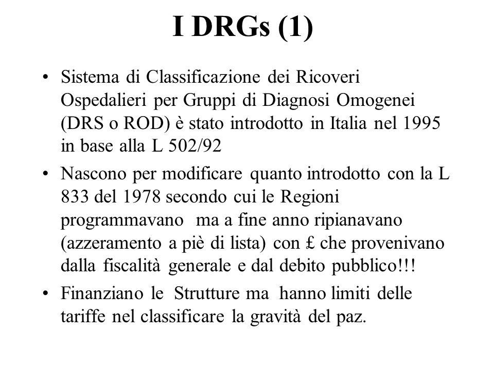 I DRGs (1) Sistema di Classificazione dei Ricoveri Ospedalieri per Gruppi di Diagnosi Omogenei (DRS o ROD) è stato introdotto in Italia nel 1995 in base alla L 502/92 Nascono per modificare quanto introdotto con la L 833 del 1978 secondo cui le Regioni programmavano ma a fine anno ripianavano (azzeramento a piè di lista) con £ che provenivano dalla fiscalità generale e dal debito pubblico!!.