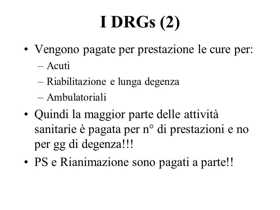 I DRGs (2) Vengono pagate per prestazione le cure per: –Acuti –Riabilitazione e lunga degenza –Ambulatoriali Quindi la maggior parte delle attività sanitarie è pagata per n° di prestazioni e no per gg di degenza!!.