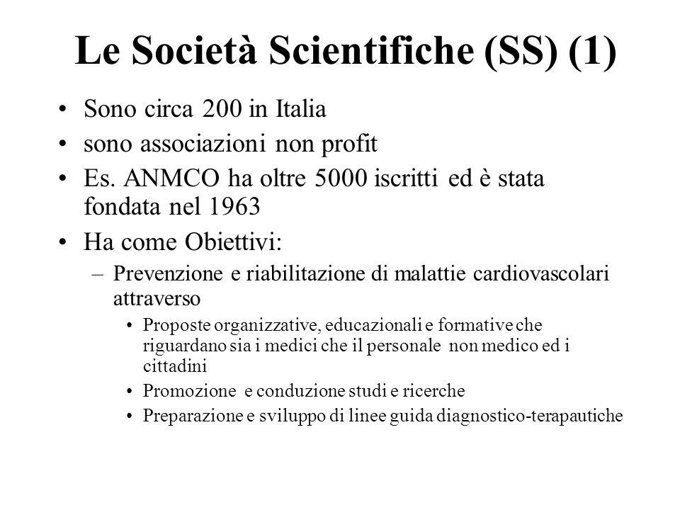 Le Società Scientifiche (SS) (1) Sono circa 200 in Italia sono associazioni non profit Es.
