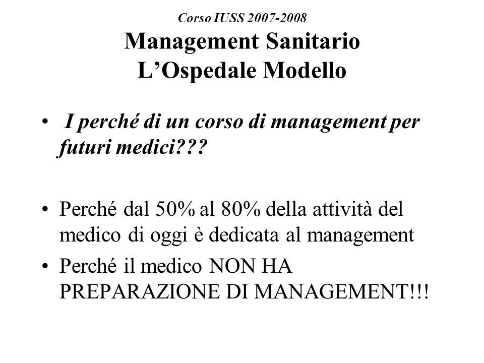 Corso IUSS 2007-2008 Management Sanitario LOspedale Modello I perché di un corso di management per futuri medici??.