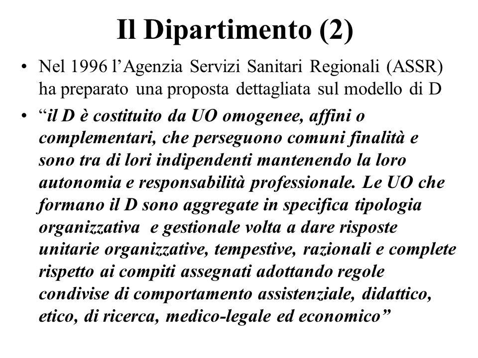 Il Dipartimento (2) Nel 1996 lAgenzia Servizi Sanitari Regionali (ASSR) ha preparato una proposta dettagliata sul modello di D il D è costituito da UO omogenee, affini o complementari, che perseguono comuni finalità e sono tra di lori indipendenti mantenendo la loro autonomia e responsabilità professionale.