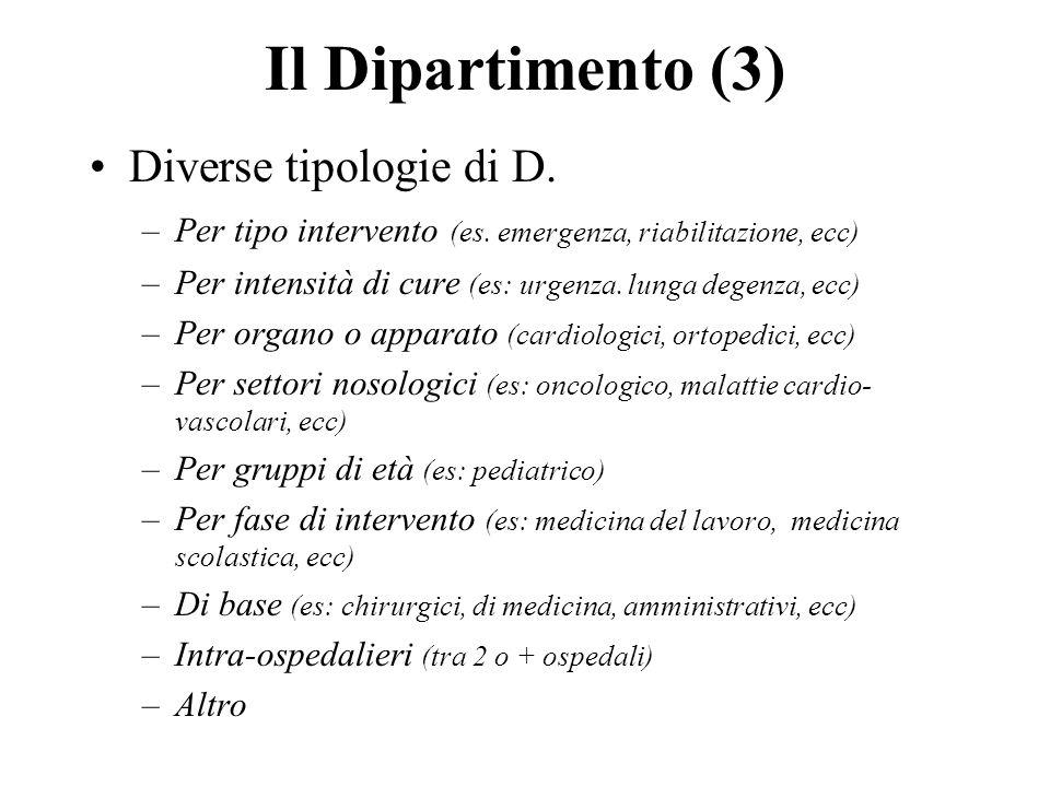 Il Dipartimento (3) Diverse tipologie di D.–Per tipo intervento (es.