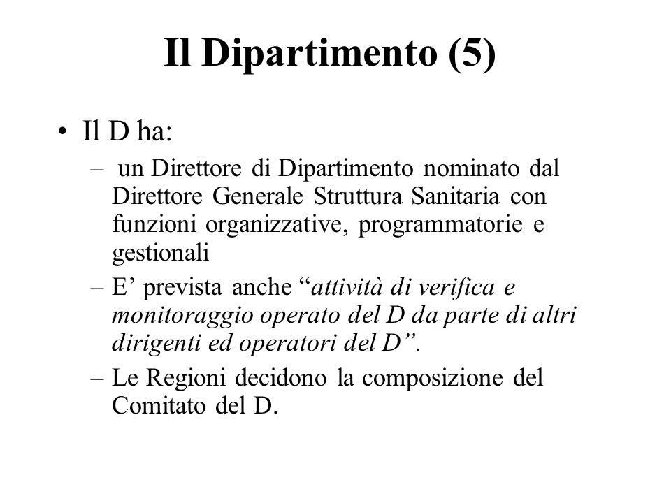 Il Dipartimento (5) Il D ha: – un Direttore di Dipartimento nominato dal Direttore Generale Struttura Sanitaria con funzioni organizzative, programmatorie e gestionali –E prevista anche attività di verifica e monitoraggio operato del D da parte di altri dirigenti ed operatori del D.
