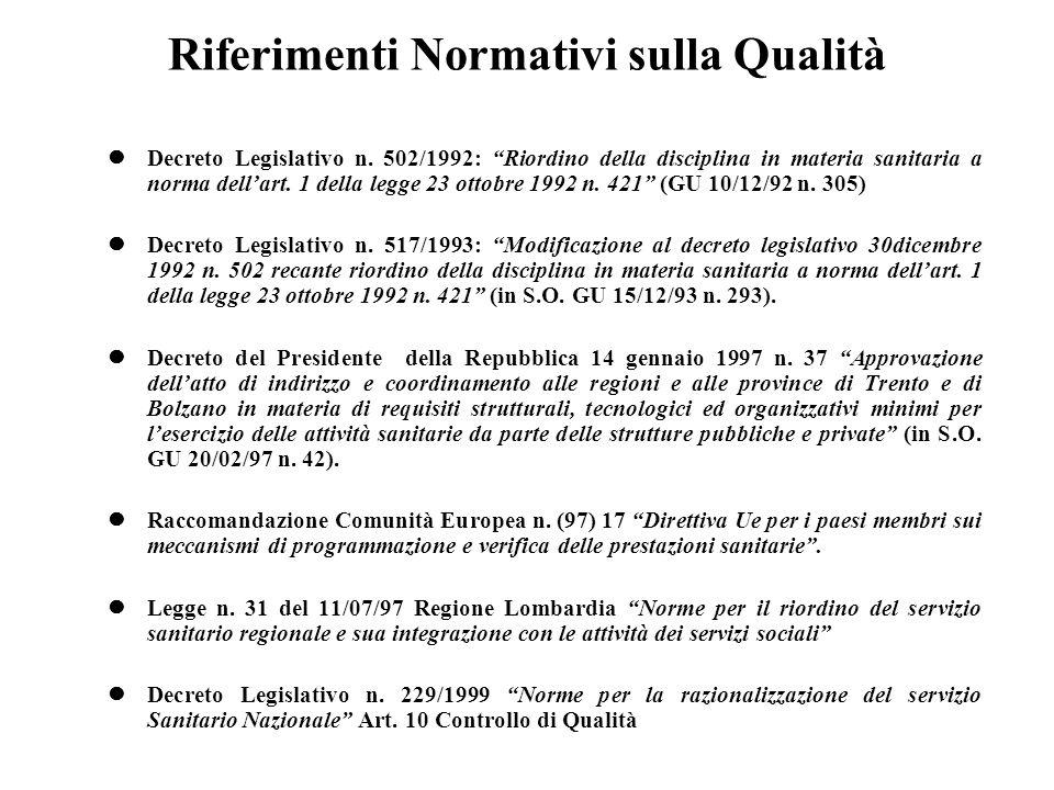 Riferimenti Normativi sulla Qualità Decreto Legislativo n.