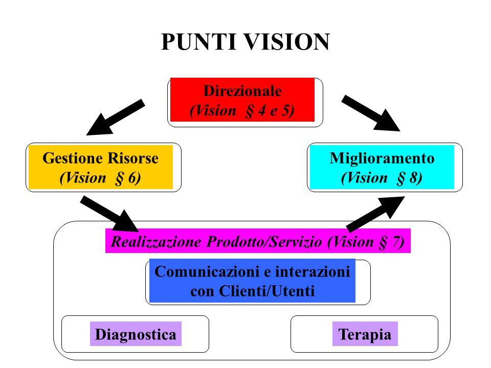 PUNTI VISION Direzionale (Vision § 4 e 5) Gestione Risorse (Vision § 6) Miglioramento (Vision § 8) Realizzazione Prodotto/Servizio (Vision § 7) Comunicazioni e interazioni con Clienti/Utenti DiagnosticaTerapia