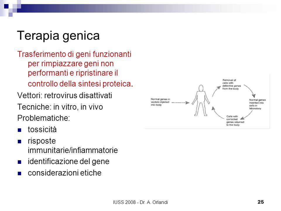 IUSS 2008 - Dr. A. Orlandi25 Terapia genica Trasferimento di geni funzionanti per rimpiazzare geni non performanti e ripristinare il controllo della s