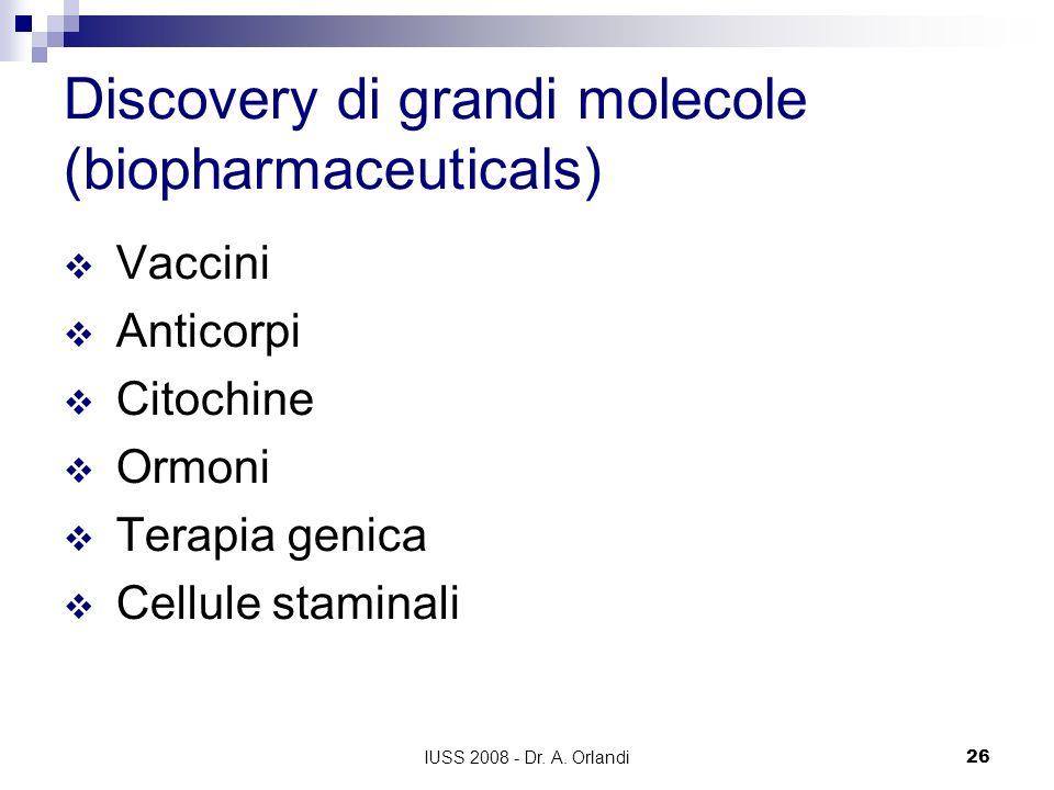 IUSS 2008 - Dr. A. Orlandi26 Discovery di grandi molecole (biopharmaceuticals) Vaccini Anticorpi Citochine Ormoni Terapia genica Cellule staminali