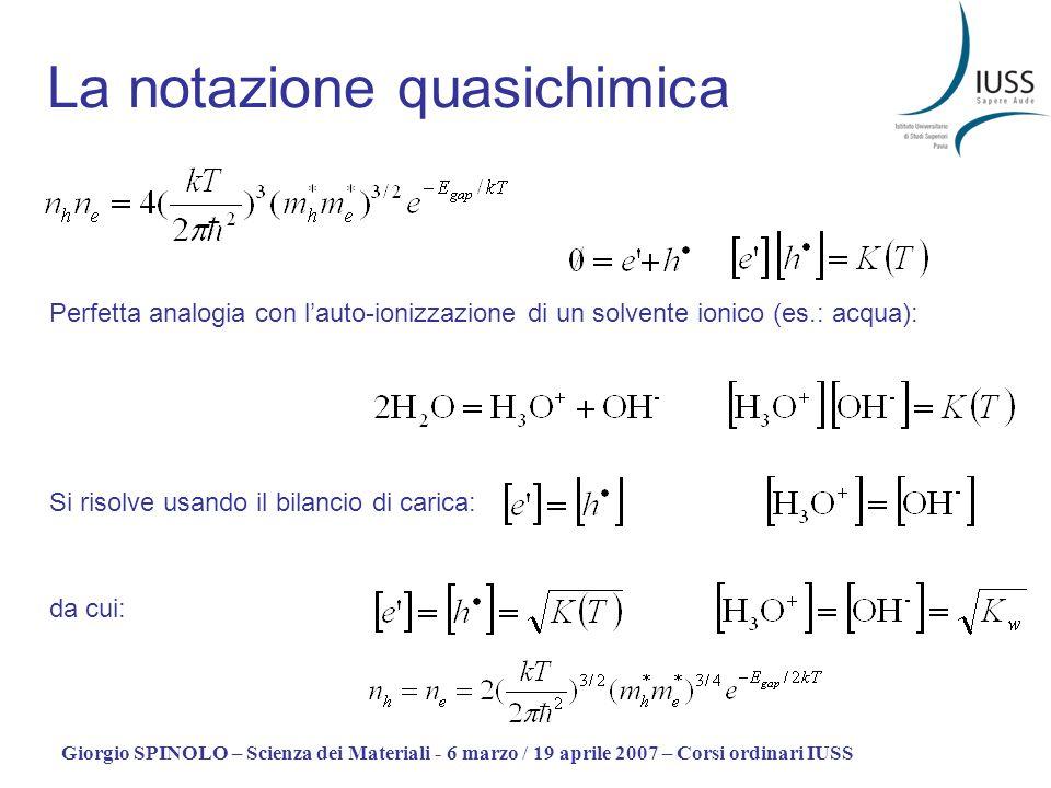 Giorgio SPINOLO – Scienza dei Materiali - 6 marzo / 19 aprile 2007 – Corsi ordinari IUSS Semiconduttori drogati Ad esempio con N, P, As, … (atomi donor) [Droganti quali B, Al, … sono detti acceptor] (i casi donor - acceptor sono simmetrici) Due effetti 1.Lintera struttura elettronica del solido viene incrementata di un elettrone (per ogni atomo donor) o decrementata … 2.Rispetto alla perfetta periodicità il drogante costituisce un centro positivo (se donor) o …