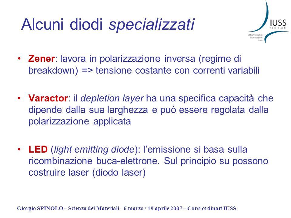 Giorgio SPINOLO – Scienza dei Materiali - 6 marzo / 19 aprile 2007 – Corsi ordinari IUSS Alcuni diodi specializzati Zener: lavora in polarizzazione in