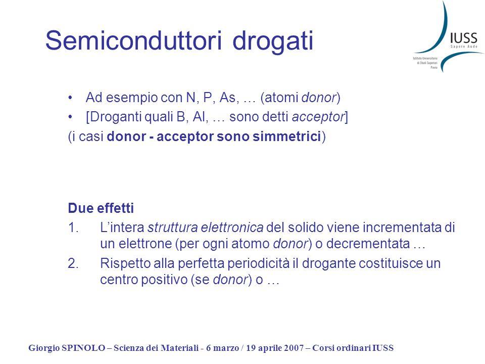 Giorgio SPINOLO – Scienza dei Materiali - 6 marzo / 19 aprile 2007 – Corsi ordinari IUSS Semiconduttori drogati Ad esempio con N, P, As, … (atomi dono