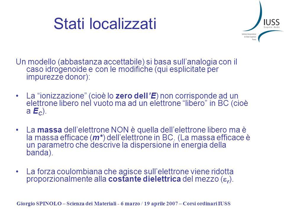 Giorgio SPINOLO – Scienza dei Materiali - 6 marzo / 19 aprile 2007 – Corsi ordinari IUSS Stati localizzati Un modello (abbastanza accettabile) si basa
