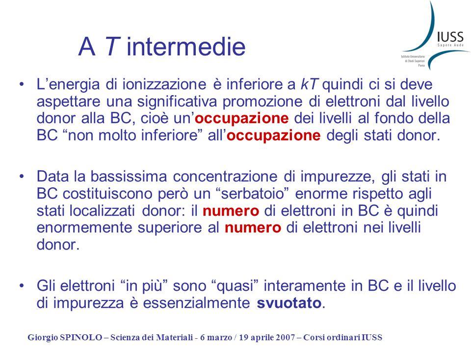 Giorgio SPINOLO – Scienza dei Materiali - 6 marzo / 19 aprile 2007 – Corsi ordinari IUSS A T intermedie Lenergia di ionizzazione è inferiore a kT quin