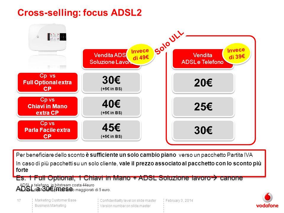 Confidentiality level on slide master Version number on slide master Marketing Customer Base Business Marketing 17February 3, 2014 Cross-selling: focu