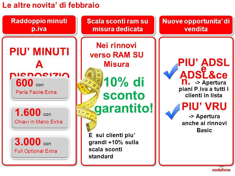 Le altre novita di febbraio Raddoppio minuti p.iva Scala sconti ram su misura dedicata Nuove opportunita di vendita PIU ADSL e ADSL&ce n. -> Apertura