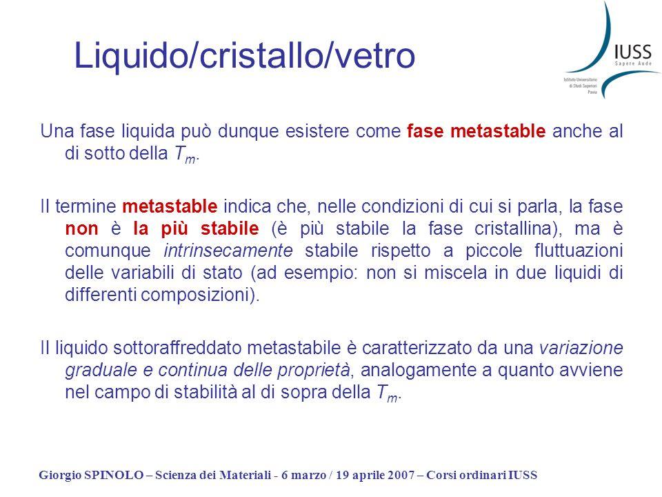 Giorgio SPINOLO – Scienza dei Materiali - 6 marzo / 19 aprile 2007 – Corsi ordinari IUSS Una fase liquida può dunque esistere come fase metastable anc
