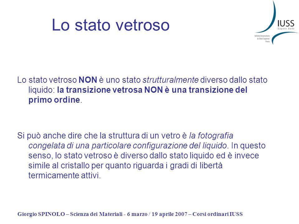 Giorgio SPINOLO – Scienza dei Materiali - 6 marzo / 19 aprile 2007 – Corsi ordinari IUSS Lo stato vetroso Lo stato vetroso NON è uno stato strutturalm
