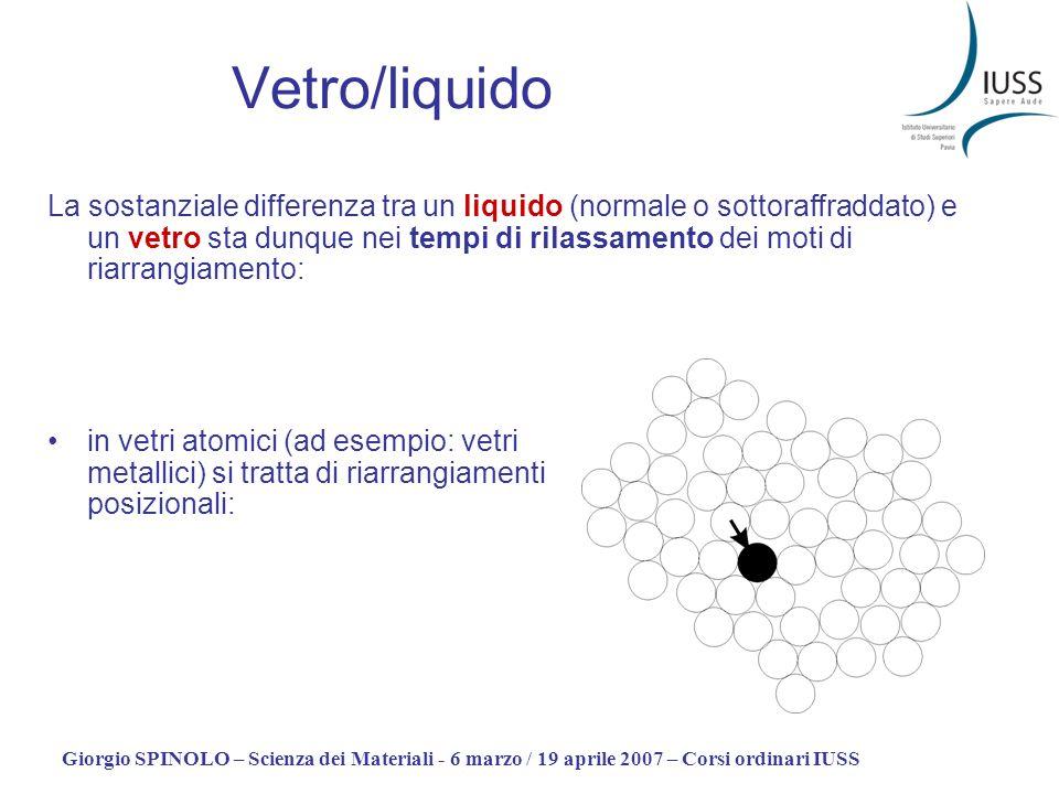 Giorgio SPINOLO – Scienza dei Materiali - 6 marzo / 19 aprile 2007 – Corsi ordinari IUSS Vetro/liquido La sostanziale differenza tra un liquido (norma