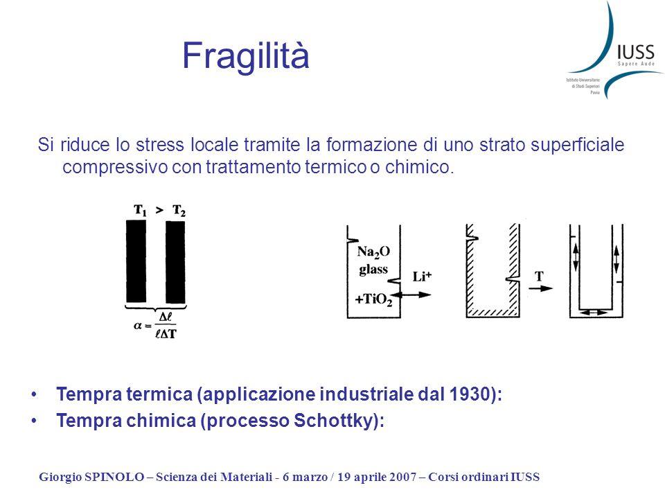 Giorgio SPINOLO – Scienza dei Materiali - 6 marzo / 19 aprile 2007 – Corsi ordinari IUSS Fragilità Si riduce lo stress locale tramite la formazione di