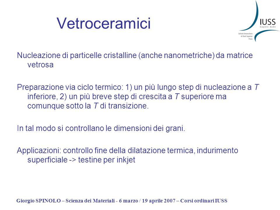 Giorgio SPINOLO – Scienza dei Materiali - 6 marzo / 19 aprile 2007 – Corsi ordinari IUSS Vetroceramici Nucleazione di particelle cristalline (anche na