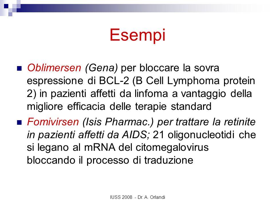 IUSS 2008 - Dr. A. Orlandi Esempi Oblimersen (Gena) per bloccare la sovra espressione di BCL-2 (B Cell Lymphoma protein 2) in pazienti affetti da linf