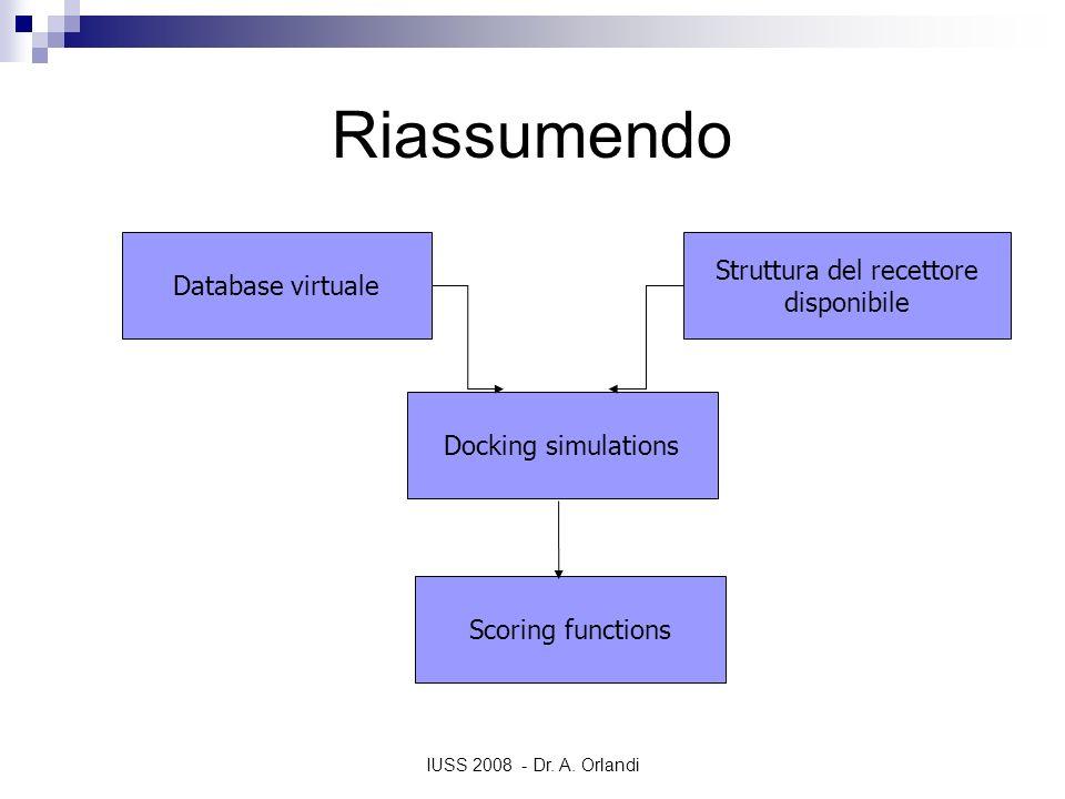 IUSS 2008 - Dr. A. Orlandi Riassumendo Database virtuale Struttura del recettore disponibile Docking simulations Scoring functions
