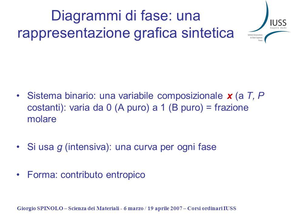 Giorgio SPINOLO – Scienza dei Materiali - 6 marzo / 19 aprile 2007 – Corsi ordinari IUSS Diagrammi di fase: una rappresentazione grafica sintetica Sis