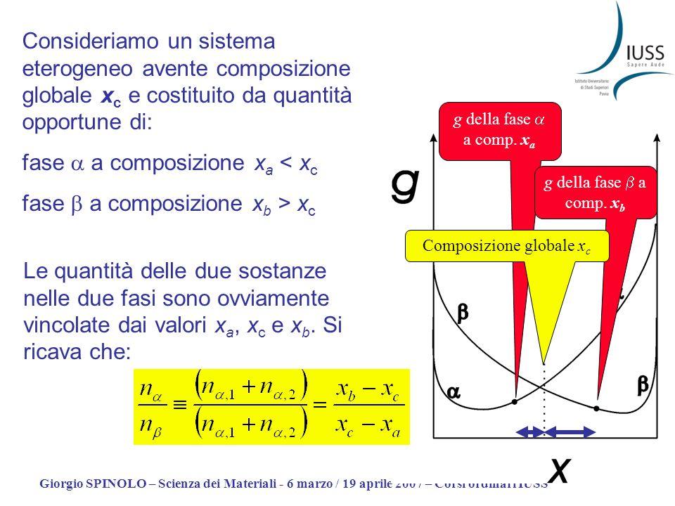 Giorgio SPINOLO – Scienza dei Materiali - 6 marzo / 19 aprile 2007 – Corsi ordinari IUSS g della fase a comp. x a g della fase a comp. x b Composizion