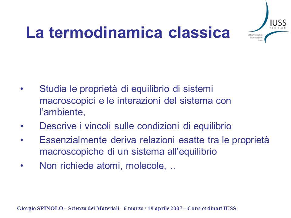 Giorgio SPINOLO – Scienza dei Materiali - 6 marzo / 19 aprile 2007 – Corsi ordinari IUSS Studia le proprietà di equilibrio di sistemi macroscopici e l
