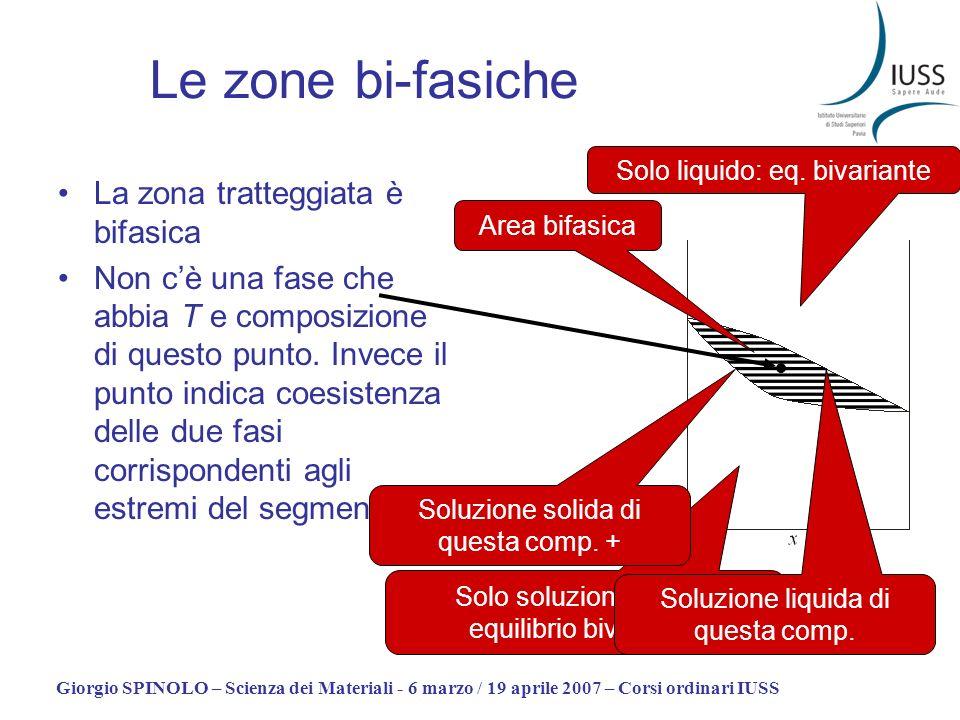 Giorgio SPINOLO – Scienza dei Materiali - 6 marzo / 19 aprile 2007 – Corsi ordinari IUSS Le zone bi-fasiche La zona tratteggiata è bifasica Non cè una