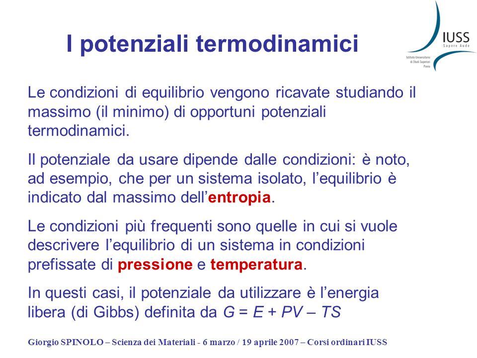 Giorgio SPINOLO – Scienza dei Materiali - 6 marzo / 19 aprile 2007 – Corsi ordinari IUSS I potenziali termodinamici Le condizioni di equilibrio vengon