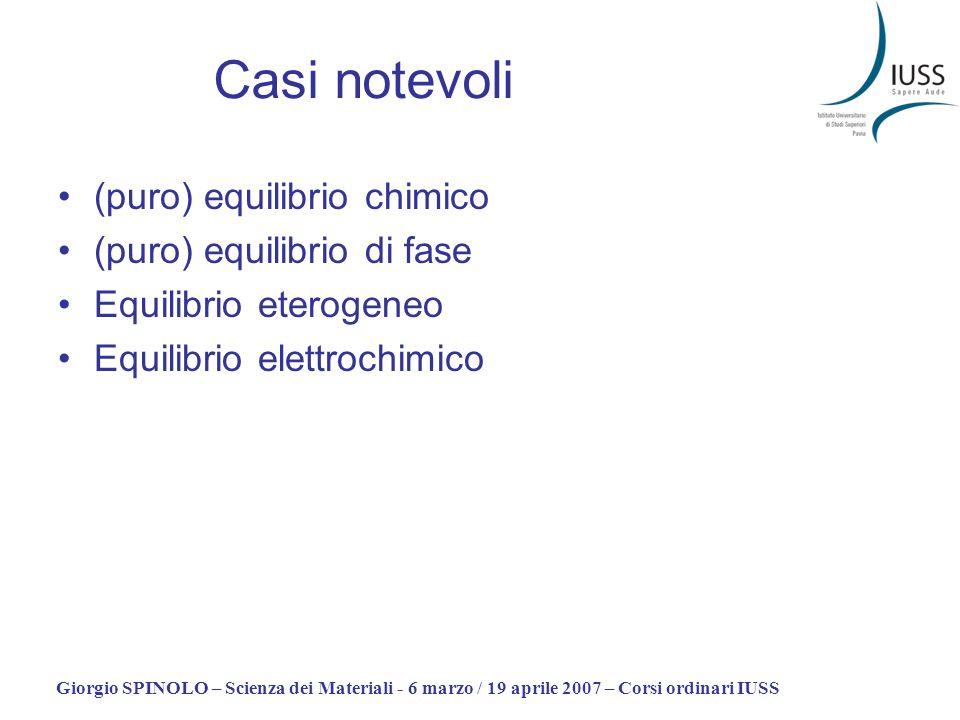 Giorgio SPINOLO – Scienza dei Materiali - 6 marzo / 19 aprile 2007 – Corsi ordinari IUSS Casi notevoli (puro) equilibrio chimico (puro) equilibrio di