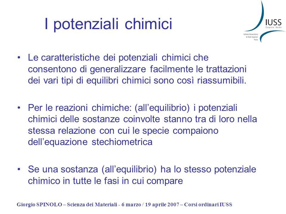 Giorgio SPINOLO – Scienza dei Materiali - 6 marzo / 19 aprile 2007 – Corsi ordinari IUSS I potenziali chimici Le caratteristiche dei potenziali chimic