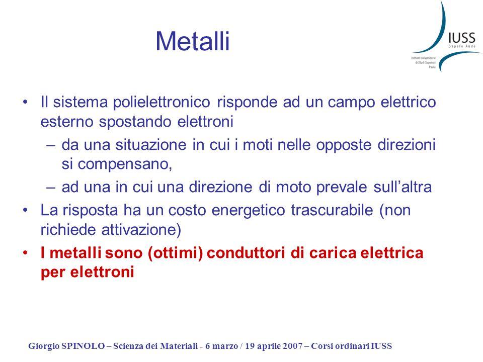 Giorgio SPINOLO – Scienza dei Materiali - 6 marzo / 19 aprile 2007 – Corsi ordinari IUSS Metalli Il sistema polielettronico risponde ad un campo elett