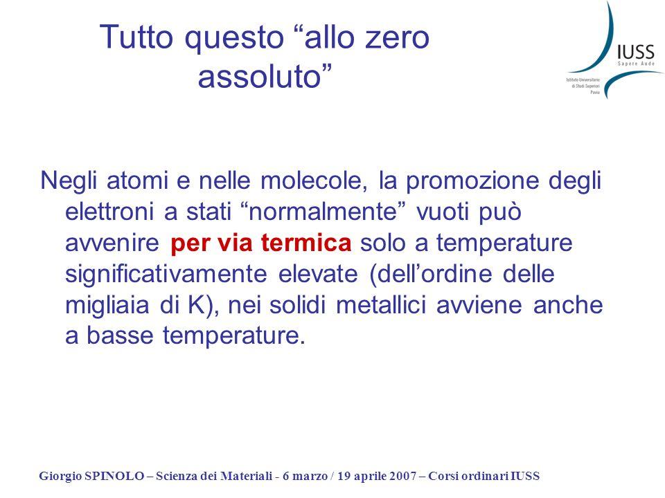 Giorgio SPINOLO – Scienza dei Materiali - 6 marzo / 19 aprile 2007 – Corsi ordinari IUSS Tutto questo allo zero assoluto Negli atomi e nelle molecole,