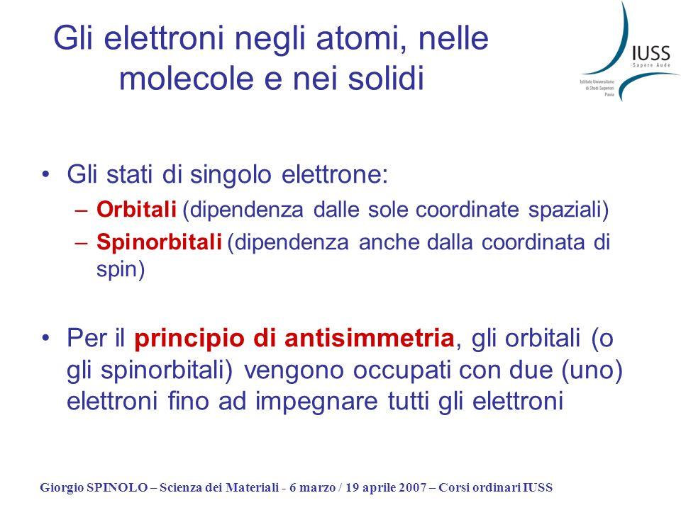 Giorgio SPINOLO – Scienza dei Materiali - 6 marzo / 19 aprile 2007 – Corsi ordinari IUSS Gli elettroni negli atomi, nelle molecole e nei solidi Gli st