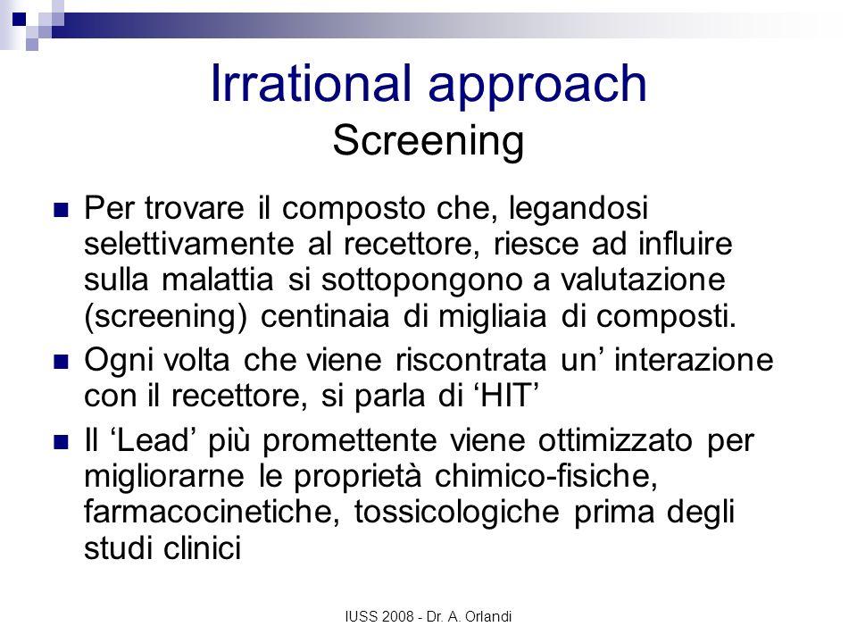 IUSS 2008 - Dr. A. Orlandi Irrational approach Screening Per trovare il composto che, legandosi selettivamente al recettore, riesce ad influire sulla