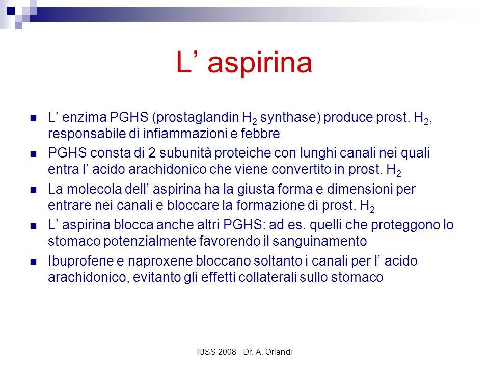 IUSS 2008 - Dr. A. Orlandi L aspirina L enzima PGHS (prostaglandin H 2 synthase) produce prost. H 2, responsabile di infiammazioni e febbre PGHS const