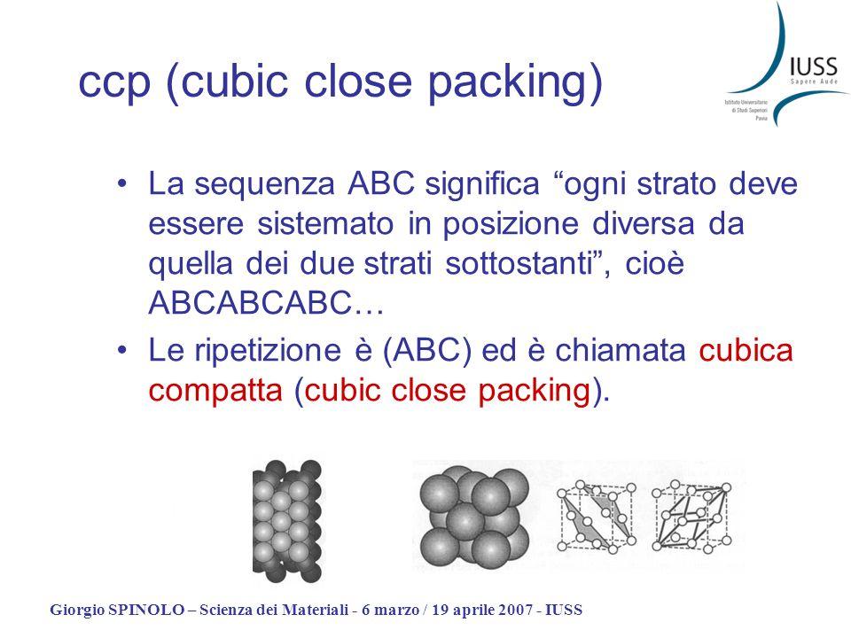 Giorgio SPINOLO – Scienza dei Materiali - 6 marzo / 19 aprile 2007 - IUSS ccp (cubic close packing) La sequenza ABC significa ogni strato deve essere