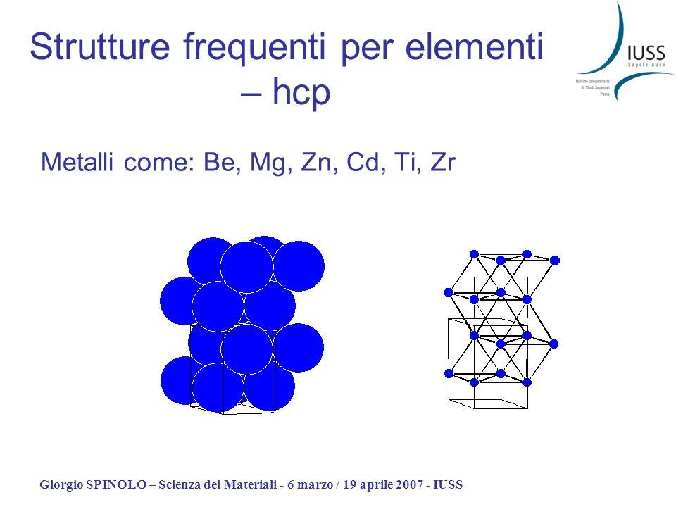 Giorgio SPINOLO – Scienza dei Materiali - 6 marzo / 19 aprile 2007 - IUSS Metalli come: Be, Mg, Zn, Cd, Ti, Zr Strutture frequenti per elementi – hcp