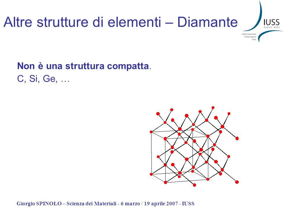 Giorgio SPINOLO – Scienza dei Materiali - 6 marzo / 19 aprile 2007 - IUSS Altre strutture di elementi – Diamante Non è una struttura compatta. C, Si,