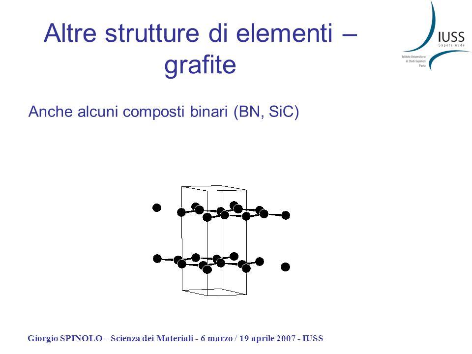 Giorgio SPINOLO – Scienza dei Materiali - 6 marzo / 19 aprile 2007 - IUSS Anche alcuni composti binari (BN, SiC) Altre strutture di elementi – grafite