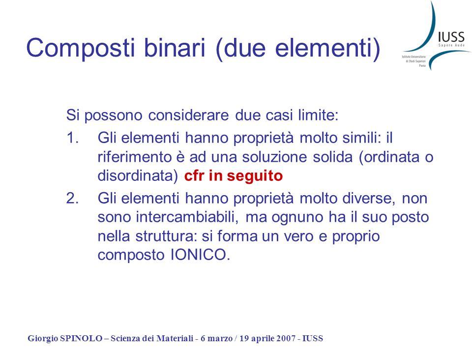 Giorgio SPINOLO – Scienza dei Materiali - 6 marzo / 19 aprile 2007 - IUSS Composti binari (due elementi) Si possono considerare due casi limite: 1.Gli