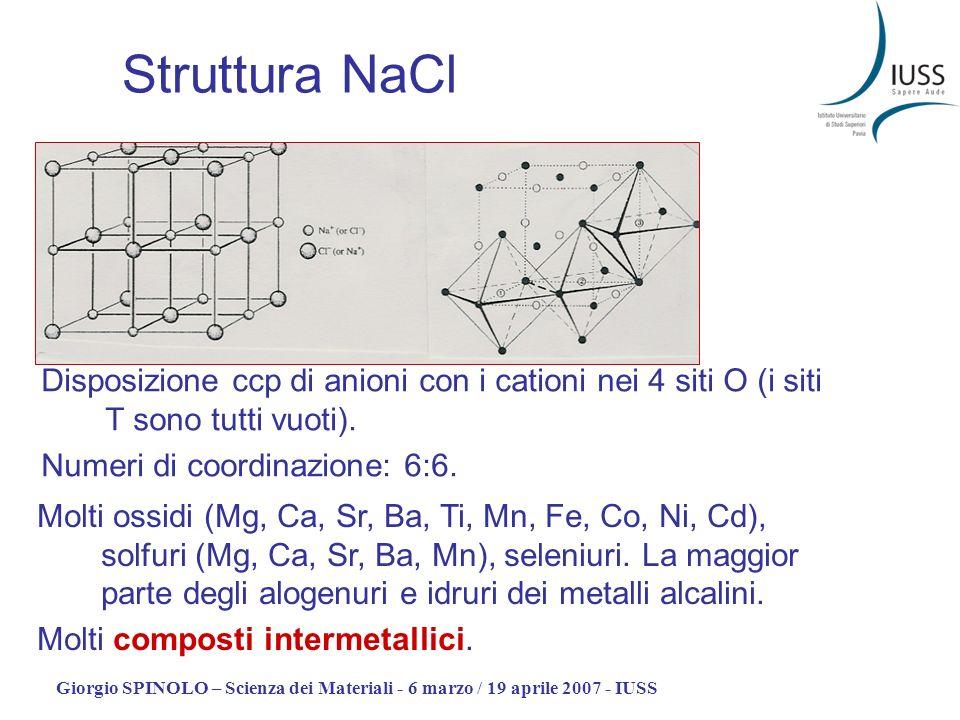 Giorgio SPINOLO – Scienza dei Materiali - 6 marzo / 19 aprile 2007 - IUSS Struttura NaCl Disposizione ccp di anioni con i cationi nei 4 siti O (i siti