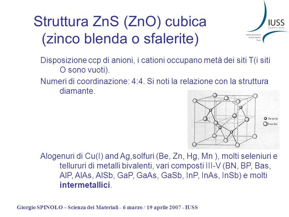 Giorgio SPINOLO – Scienza dei Materiali - 6 marzo / 19 aprile 2007 - IUSS Struttura ZnS (ZnO) cubica (zinco blenda o sfalerite) Disposizione ccp di an