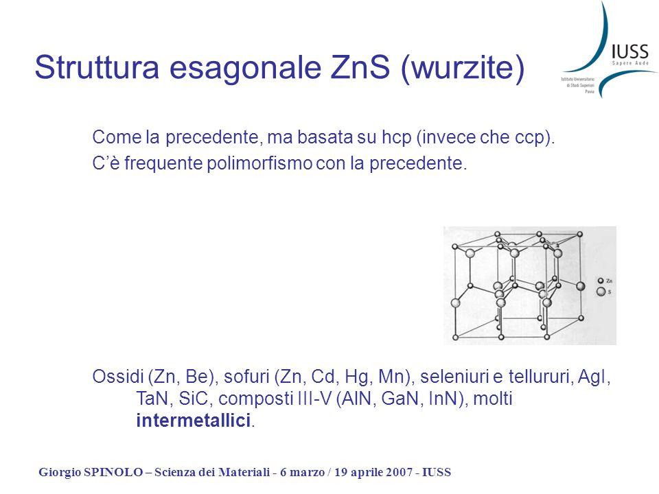Giorgio SPINOLO – Scienza dei Materiali - 6 marzo / 19 aprile 2007 - IUSS Struttura esagonale ZnS (wurzite) Come la precedente, ma basata su hcp (inve