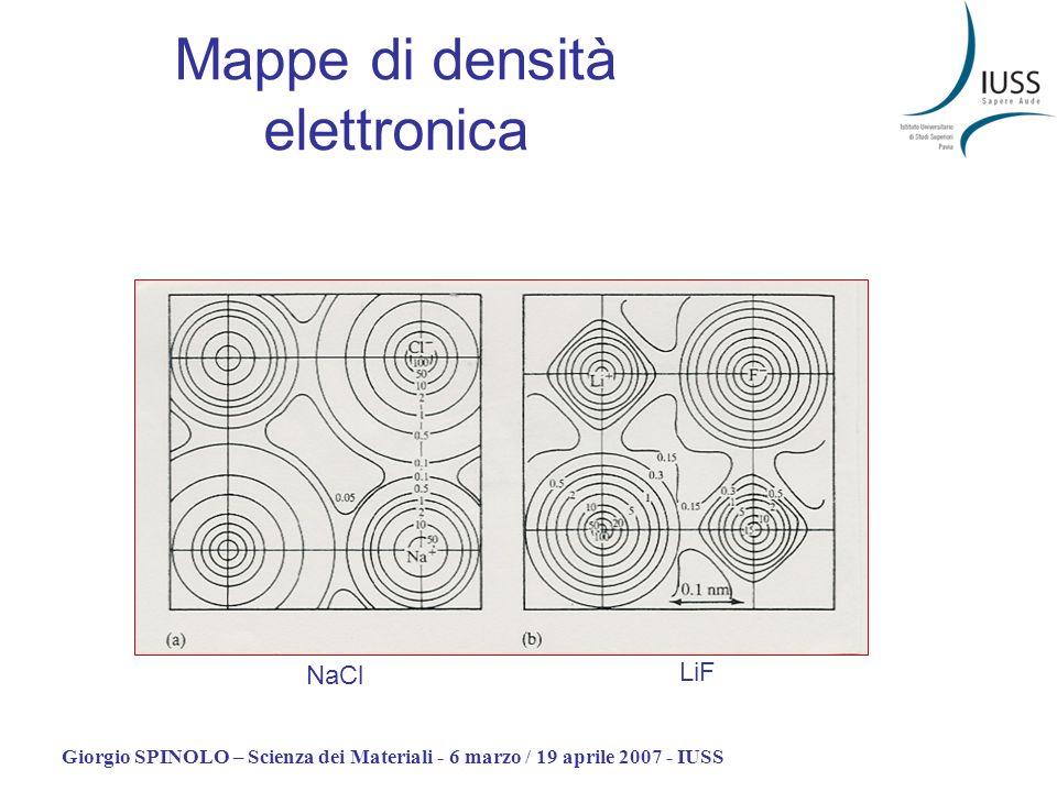 Giorgio SPINOLO – Scienza dei Materiali - 6 marzo / 19 aprile 2007 - IUSS Mappe di densità elettronica LiF NaCl