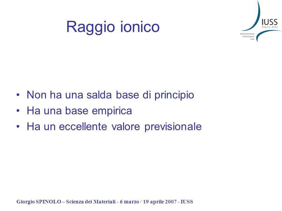 Giorgio SPINOLO – Scienza dei Materiali - 6 marzo / 19 aprile 2007 - IUSS Raggio ionico Non ha una salda base di principio Ha una base empirica Ha un