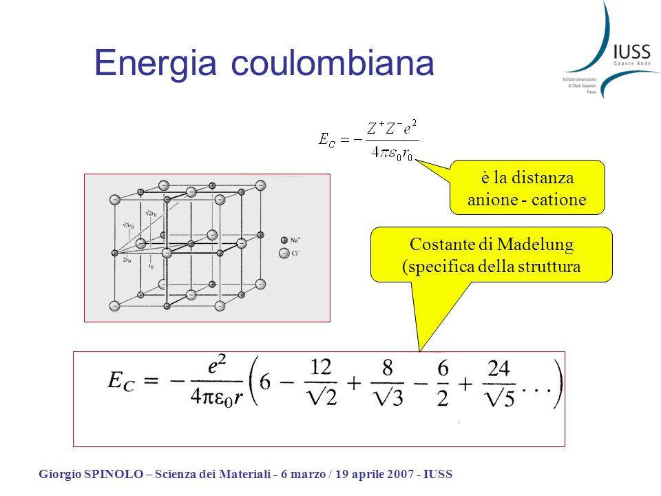 Giorgio SPINOLO – Scienza dei Materiali - 6 marzo / 19 aprile 2007 - IUSS Energia coulombiana è la distanza anione - catione Costante di Madelung (spe